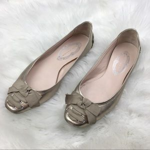 ⬇️$48 Elie Tahiri | Gold & Tan Ribbon Flats 36.5
